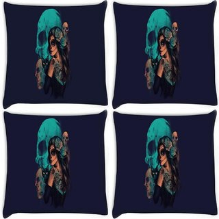 Snoogg Pack Of 4 Day Of The Dead Digitally Printed Cushion Cover Pillow 10 x 10 Inch