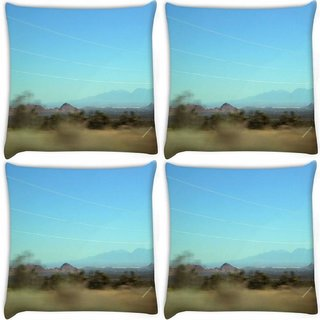 Snoogg Pack Of 4 Desert Digitally Printed Cushion Cover Pillow 10 x 10 Inch
