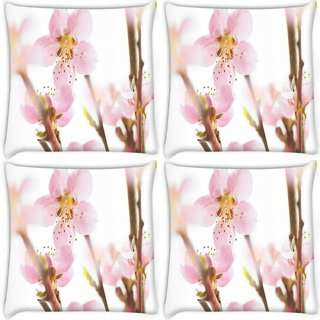 Snoogg Pack Of 4 Spring Flowering Cherry Digitally Printed Cushion Cover Pillow 10 x 10 Inch