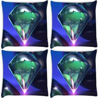 Snoogg Pack Of 4 Diamond 3D Digitally Printed Cushion Cover Pillow 10 x 10 Inch