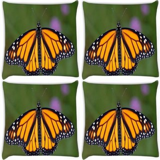 Snoogg Pack Of 4 Monarch Butterfly Digitally Printed Cushion Cover Pillow 10 x 10 Inch