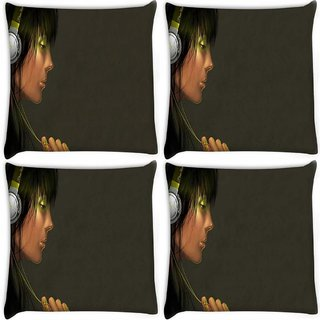 Snoogg Pack Of 4 Musica Digital Digitally Printed Cushion Cover Pillow 10 x 10 Inch