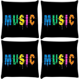 Snoogg Pack Of 4 Music Digital Digitally Printed Cushion Cover Pillow 10 x 10 Inch