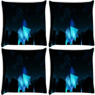 Snoogg Pack Of 4 Evangelion- Digitally Printed Cushion Cover Pillow 10 x 10 Inch