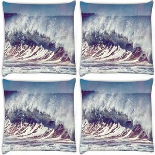 Snoogg Pack Of 4 Ocean Scream Digitally Printed Cushion Cover Pillow 10 x 10 Inch