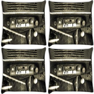Snoogg Pack Of 4 Old Car Radio Digitally Printed Cushion Cover Pillow 10 x 10 Inch