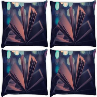 Snoogg Pack Of 4 Open Book Digitally Printed Cushion Cover Pillow 10 x 10 Inch