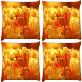 Snoogg Pack Of 4 Orange Tulips Digitally Printed Cushion Cover Pillow 10 x 10 Inch