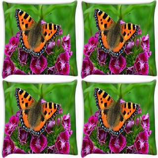 Snoogg Pack Of 4 Relaxing Butterfly Digitally Printed Cushion Cover Pillow 10 x 10 Inch