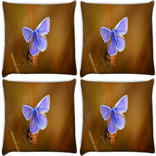 Snoogg Pack Of 4 Unique Butterfly Digitally Printed Cushion Cover Pillow 10 x 10 Inch