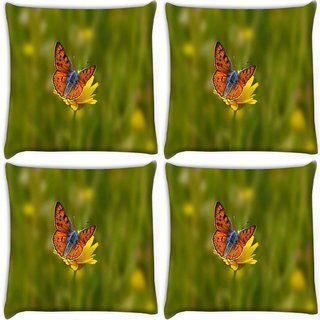 Snoogg Pack Of 4 Orange Butterfly In Yellow Flower Digitally Printed Cushion Cover Pillow 10 x 10 Inch
