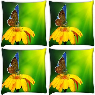 Snoogg Pack Of 4 Butterfly In Sunflower Digitally Printed Cushion Cover Pillow 10 x 10 Inch