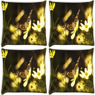 Snoogg Pack Of 4 Butterfly Sitting In Yellow Flower Digitally Printed Cushion Cover Pillow 10 x 10 Inch