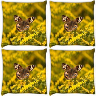 Snoogg Pack Of 4 Multicolor Flying Butterfly Digitally Printed Cushion Cover Pillow 10 x 10 Inch