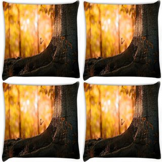 Snoogg Pack Of 4 Butterfly Under The Tree Digitally Printed Cushion Cover Pillow 10 x 10 Inch