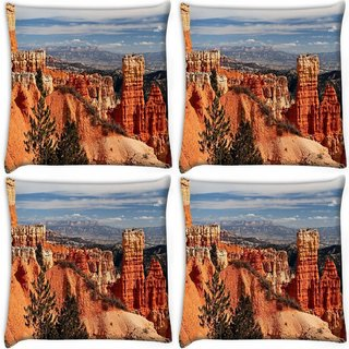 Snoogg Pack Of 4 Hill Climb Mountain Digitally Printed Cushion Cover Pillow 10 x 10 Inch