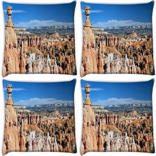 Snoogg Pack Of 4 Abstract Mountain View Digitally Printed Cushion Cover Pillow 10 x 10 Inch