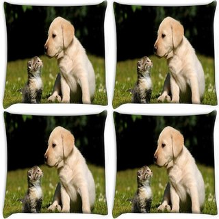 Snoogg Pack Of 4 Puppy And Kitty Digitally Printed Cushion Cover Pillow 10 x 10 Inch