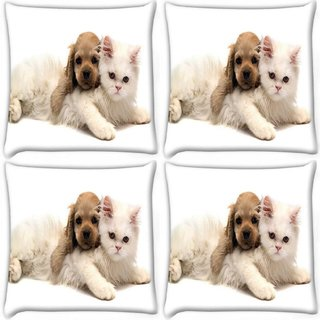 Snoogg Pack Of 4 Puppy With Persian Cat Digitally Printed Cushion Cover Pillow 10 x 10 Inch