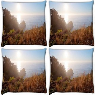 Snoogg Pack Of 4 Sunrise View Digitally Printed Cushion Cover Pillow 10 x 10 Inch