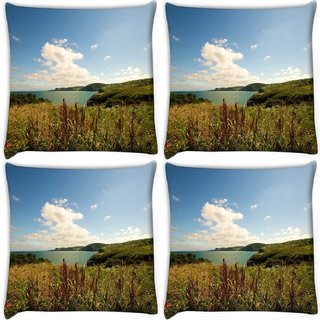 Snoogg Pack Of 4 Sea View Digitally Printed Cushion Cover Pillow 10 x 10 Inch