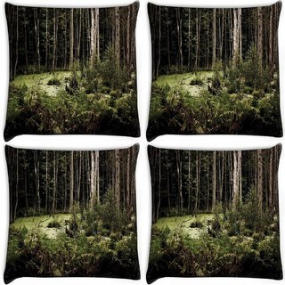 Snoogg Pack Of 4 Broken Forest Digitally Printed Cushion Cover Pillow 10 x 10 Inch