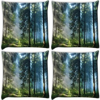 Snoogg Pack Of 4 Morning Forest Digitally Printed Cushion Cover Pillow 10 x 10 Inch
