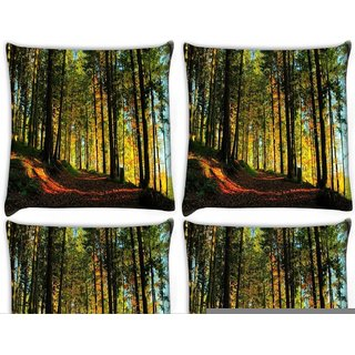 Snoogg Pack Of 4 Blossom Forest Digitally Printed Cushion Cover Pillow 10 x 10 Inch