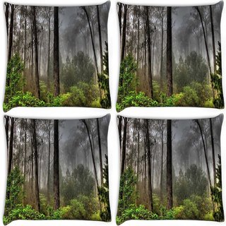 Snoogg Pack Of 4 Black Forest Digitally Printed Cushion Cover Pillow 10 x 10 Inch