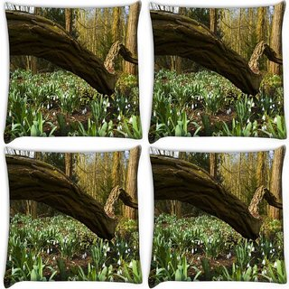 Snoogg Pack Of 4 Long Branch Tree Digitally Printed Cushion Cover Pillow 10 x 10 Inch