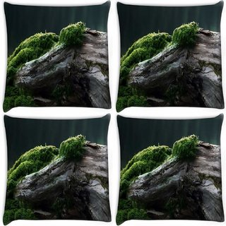 Snoogg Pack Of 4 Broken Big Tree Digitally Printed Cushion Cover Pillow 10 x 10 Inch