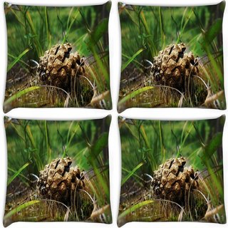 Snoogg Pack Of 4 Small Unqiue Fruit Digitally Printed Cushion Cover Pillow 10 x 10 Inch
