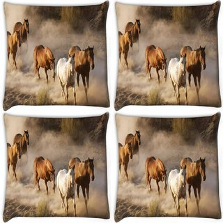 Snoogg Pack Of 4 Running Horses Digitally Printed Cushion Cover Pillow 10 x 10 Inch