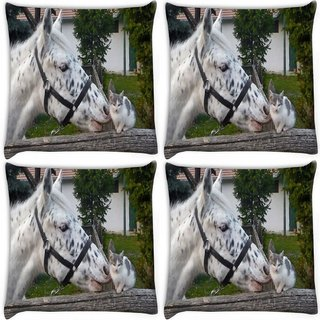 Snoogg Pack Of 4 Horse And Cat Digitally Printed Cushion Cover Pillow 10 x 10 Inch