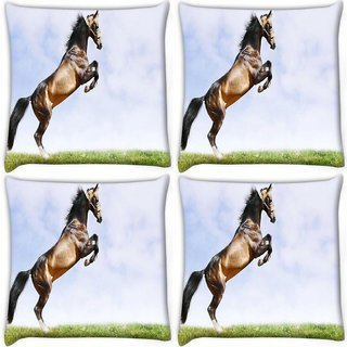 Snoogg Pack Of 4 Abstract Horse Standing Digitally Printed Cushion Cover Pillow 10 x 10 Inch
