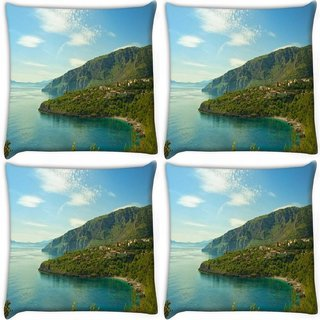 Snoogg Pack Of 4 Mixed Green Background Digitally Printed Cushion Cover Pillow 10 x 10 Inch