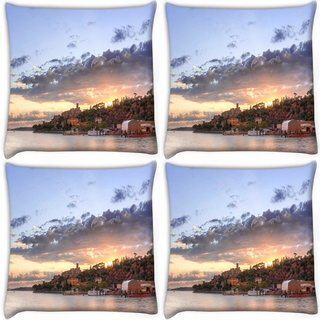 Snoogg Pack Of 4 Houses Attached With Forest Digitally Printed Cushion Cover Pillow 10 x 10 Inch