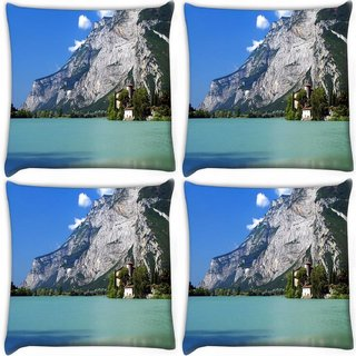 Snoogg Pack Of 4 Tall Tree In House Digitally Printed Cushion Cover Pillow 10 x 10 Inch
