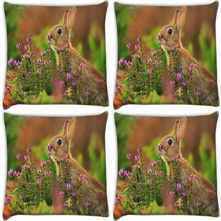 Snoogg Pack Of 4 Green Color Water Digitally Printed Cushion Cover Pillow 10 x 10 Inch