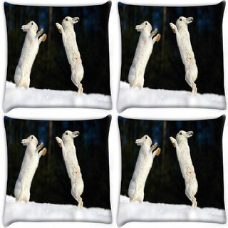 Snoogg Pack Of 4 Hiding Story Digitally Printed Cushion Cover Pillow 10 x 10 Inch