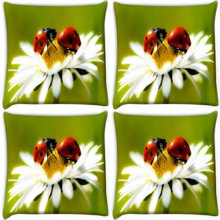 Snoogg Pack Of 4 Beatel And Water Drops Digitally Printed Cushion Cover Pillow 10 x 10 Inch
