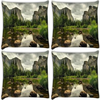Snoogg Pack Of 4 Pebble Big Stones Digitally Printed Cushion Cover Pillow 10 x 10 Inch
