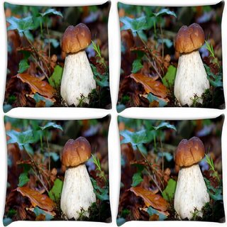 Snoogg Pack Of 4 White Mushroom Digitally Printed Cushion Cover Pillow 10 x 10 Inch