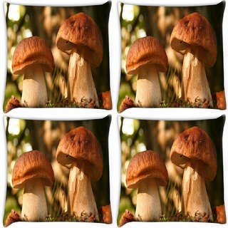 Snoogg Pack Of 4 Abstract Mushroom Digitally Printed Cushion Cover Pillow 10 x 10 Inch