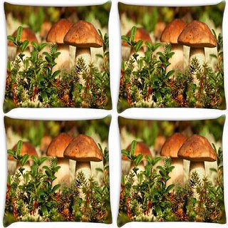 Snoogg Pack Of 4 Mushroom In Garden Digitally Printed Cushion Cover Pillow 10 x 10 Inch