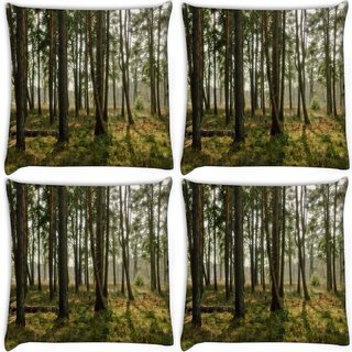 Snoogg Pack Of 4 Abstract Trees Digitally Printed Cushion Cover Pillow 10 x 10 Inch