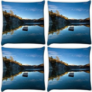 Snoogg Pack Of 4 Plain Boat Digitally Printed Cushion Cover Pillow 10 x 10 Inch