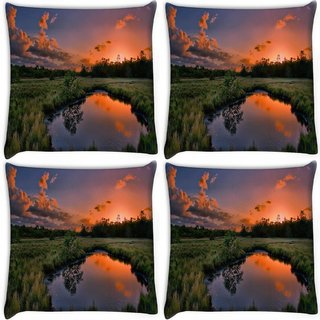 Snoogg Pack Of 4 Pond In The Garden Digitally Printed Cushion Cover Pillow 10 x 10 Inch