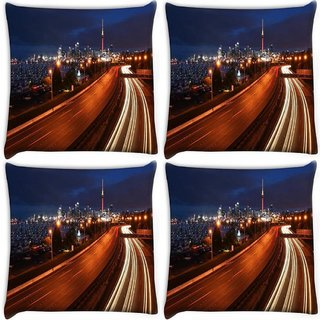 Snoogg Pack Of 4 Abstract City Roads Digitally Printed Cushion Cover Pillow 10 x 10 Inch