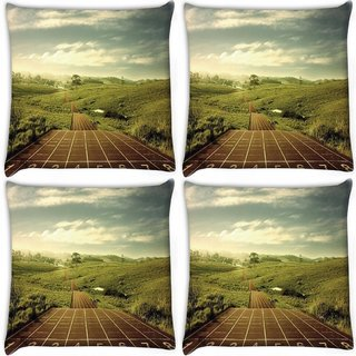 Snoogg Pack Of 4 Integers Digitally Printed Cushion Cover Pillow 10 x 10 Inch